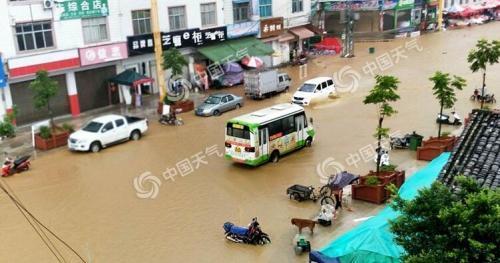 8月15日,云南文山州出现强降雨,街道路面积水严重。(图/林梅 蒋德兴)