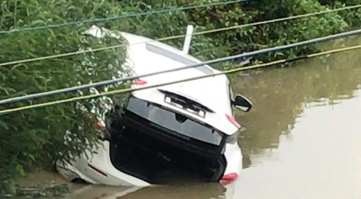 崭新玛莎拉蒂掉进鱼塘,三男一女被困水中!提车刚3小时