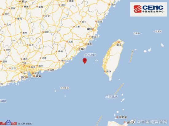 台湾海峡发生4.3级地震 网友:闽南有震感