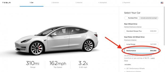 特斯拉将Model 3高性能版售价上调至55990美元