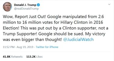 """特朗普发推批谷歌指责其""""操纵""""2016美国大选:应该被起诉!"""