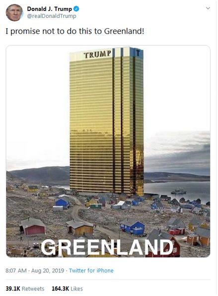 """买岛心不死!特朗普发推:我保证不在格陵兰盖""""特朗普大厦"""""""
