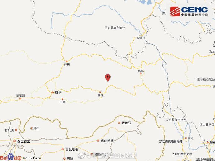 西藏林芝波密县发生3.6级地震 震源深度7千米