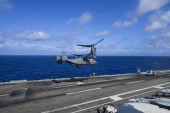 """驻日美军""""鱼鹰""""随航母在亚太地区展开行动"""