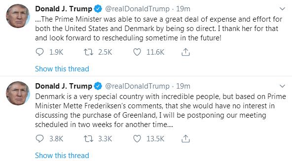 """不高兴了!想买格陵兰岛被拒绝,特朗普""""喊话""""丹麦首相:推迟会面,谢谢您的""""直接"""""""