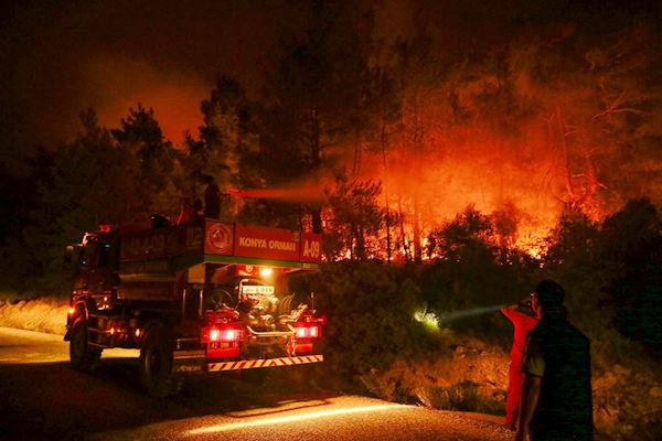 土耳其伊兹密尔森林大火持续燃烧 火光照亮夜空