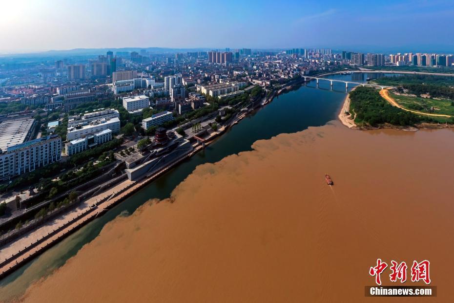 长江清江现壮观分界线 黄绿交汇泾渭分明