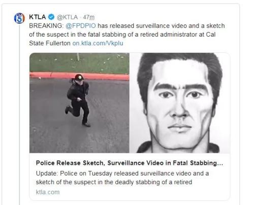 美媒:美国加州一大学华裔退休教工遇刺身亡 嫌犯画像公布