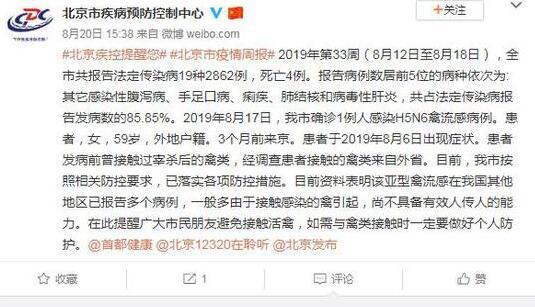 北京市确诊一例人感染H5N6禽流感病例