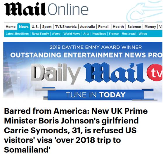 """尴尬!英首相女友赴美签证被拒,只因去过这个非洲""""国家""""?"""