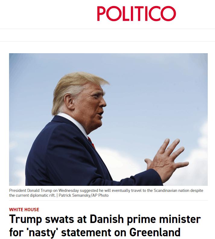 """被丹麦首相批买岛构想""""荒谬"""",特朗普:你不能这么跟美国说话"""