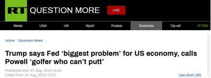 质疑美联储主席不懂经济?特朗普抨击鲍威尔:不会推杆的高尔夫球手