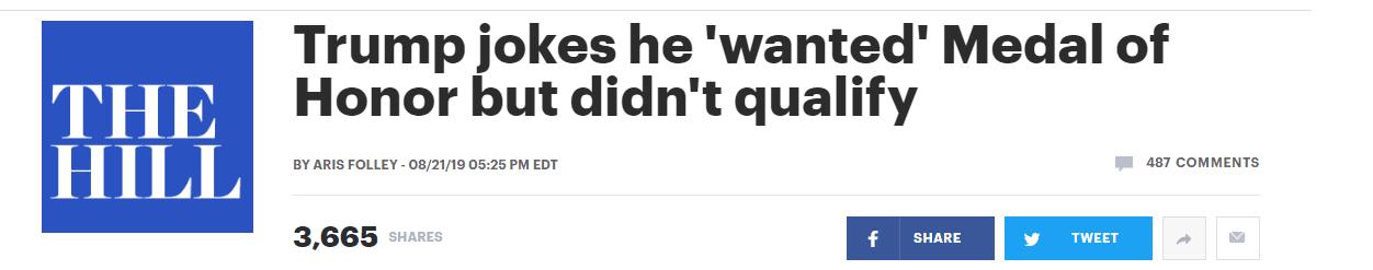 """特朗普想给自己颁""""荣誉勋章"""",却被顾问告知:没""""资格"""""""