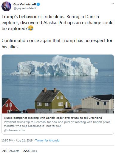 """比利时前首相为特朗普""""出招"""":想要格陵兰岛,拿阿拉斯加换"""