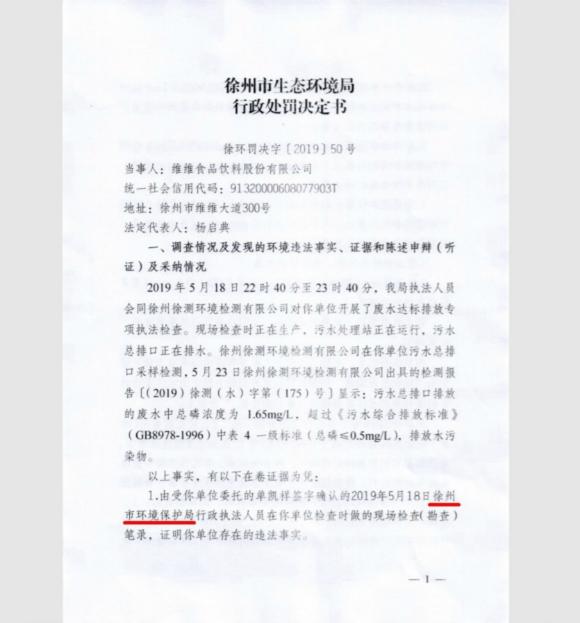 徐州维维股份因超标排放水污染物被罚15万元