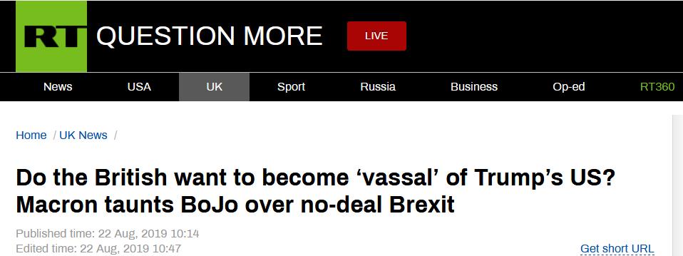 """""""英国要成美国的附庸?""""马克龙就无协议脱欧警告约翰逊"""