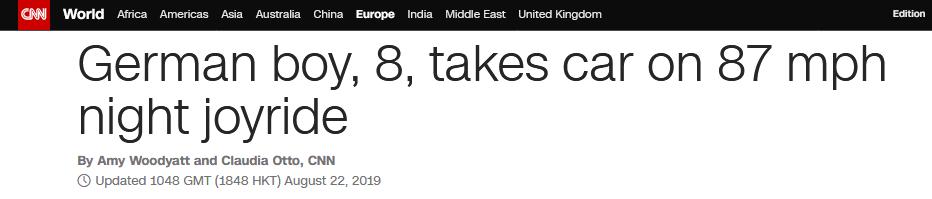初生牛犊不怕虎?德国8岁男孩夜间偷开母亲车,兜风狂飙140码