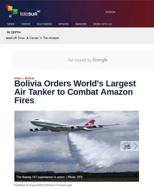 """巴西总统还在忙""""甩锅"""",这邻国出招应对亚马孙火灾:订购世界最大灭火机"""