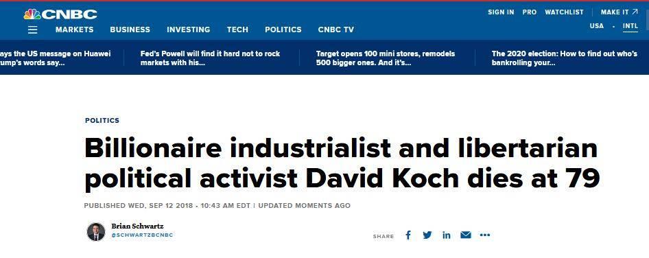 快讯!美国亿万富翁大卫·科赫去世,享年79岁