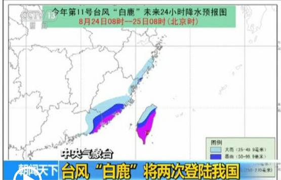 """台风""""白鹿""""台湾沿海登陆 中心附近最大风力达11级"""