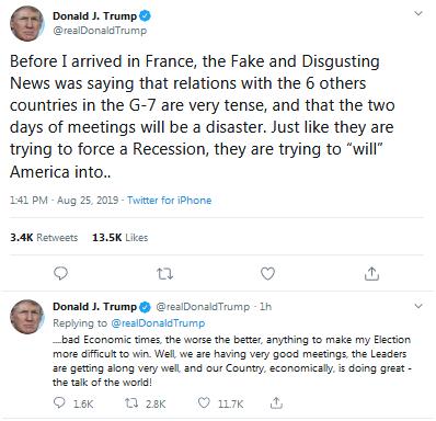 """特朗普推特又怼""""假新闻"""":没有跟G7国家关系不好,正要跟英首相吃早餐"""