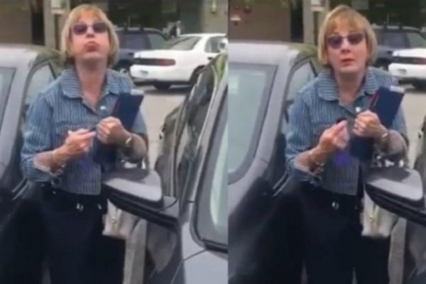 气愤!白人女子擦撞华裔女子车辆 大骂