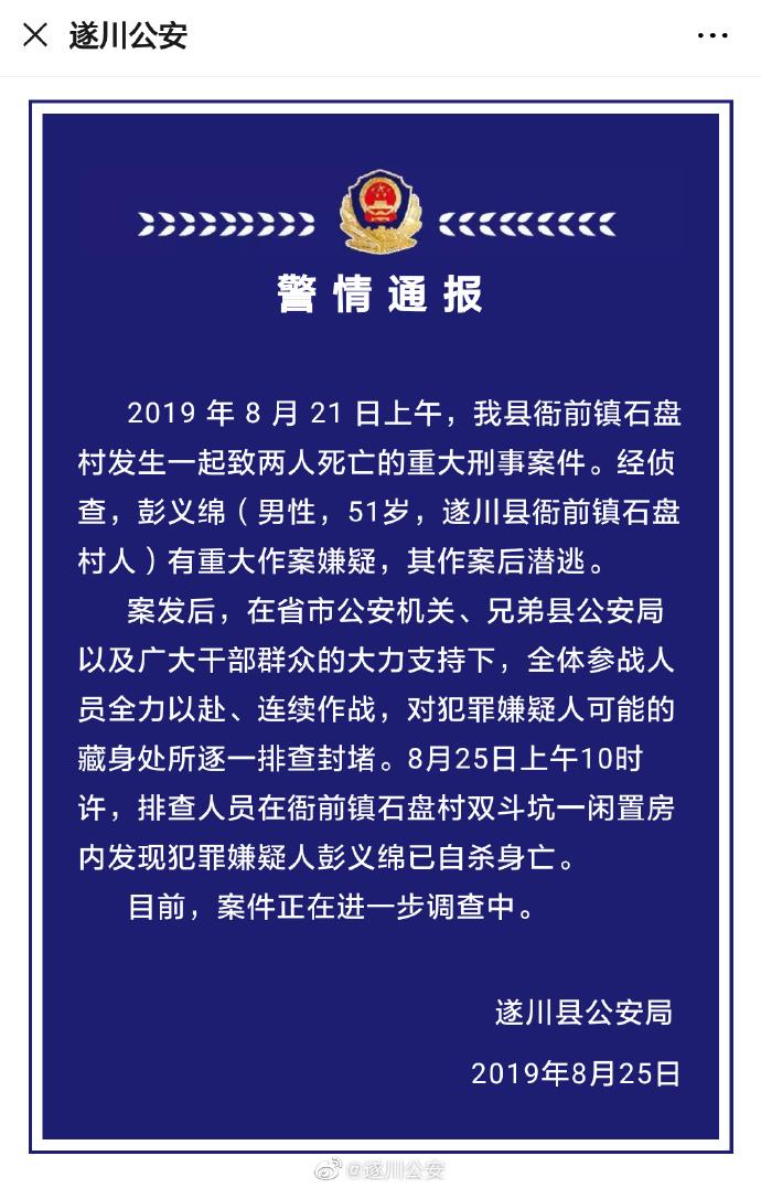"""江西遂川警方:致两死""""8.21""""命案嫌犯已自杀身亡"""