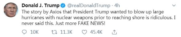 美媒称特朗普曾建议用核武器炸飓风 特朗普辟谣:可笑,假新闻!