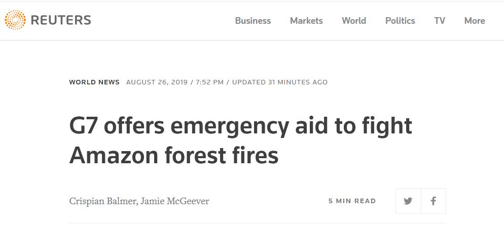 G7领导人提议出2000万美元帮亚马孙雨林灭火,博尔索纳罗批:巴西不是殖民地