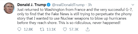 刚到华盛顿,特朗普再辟谣:假新闻还在说我想用核武器炸飓风,太可笑了!