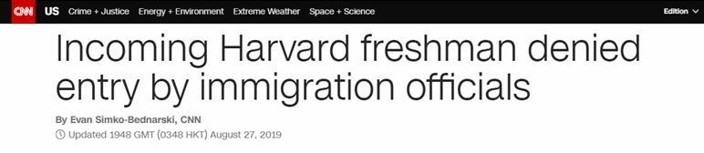 """因社交媒体好友曾发""""反美""""言论,哈佛新生被美国拒绝入境还拘8小时"""