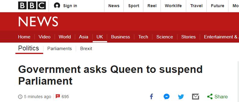 英政府请求女王暂停议会 还给女王安排上演讲日程