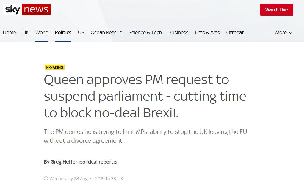 """英女王批准首相暂停议会请求,反对党:这是英式""""政变"""""""