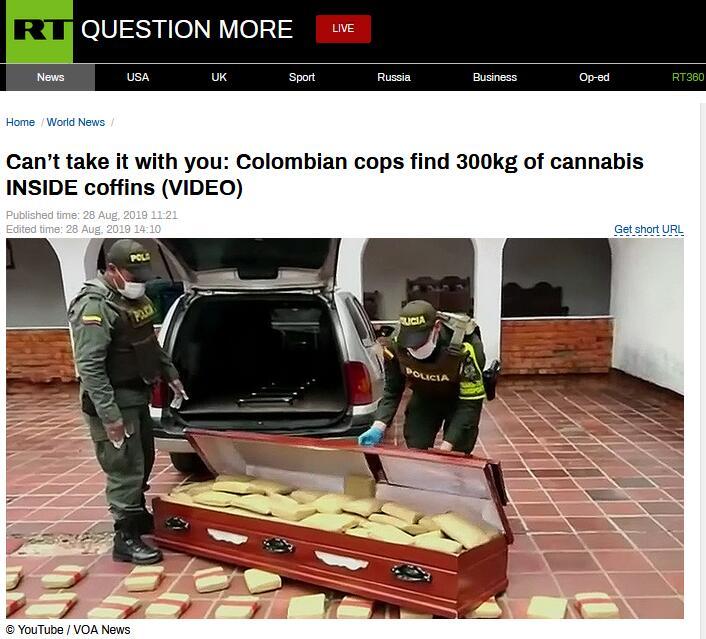 离奇!哥伦比亚2棺材内藏300公斤大麻