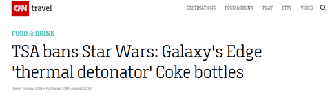"""星战迷注意了!美国禁止星战周边可乐瓶上飞机,因形似""""手雷"""""""