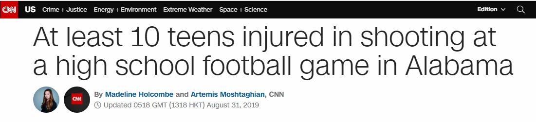 突发!美国阿拉巴马州发生枪击事件,10人受伤