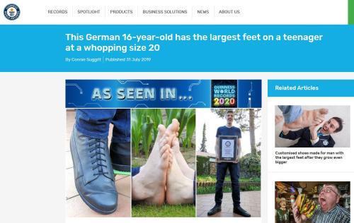买不到鞋!德国57号鞋大脚少年被记入世界纪录