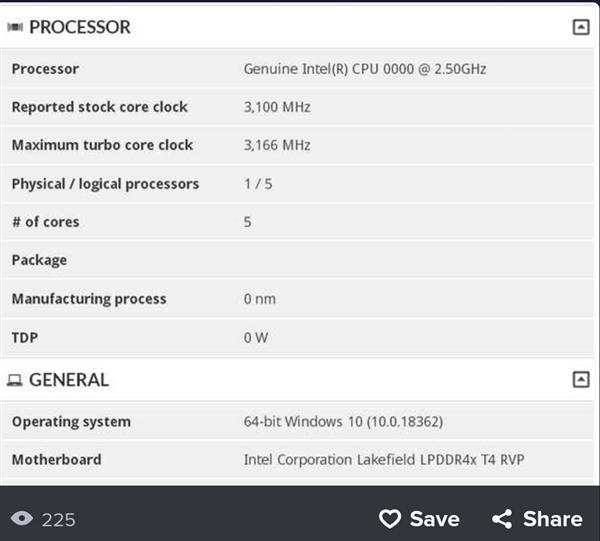 5核10nm Intel 3D封装处理器Lakefield现身