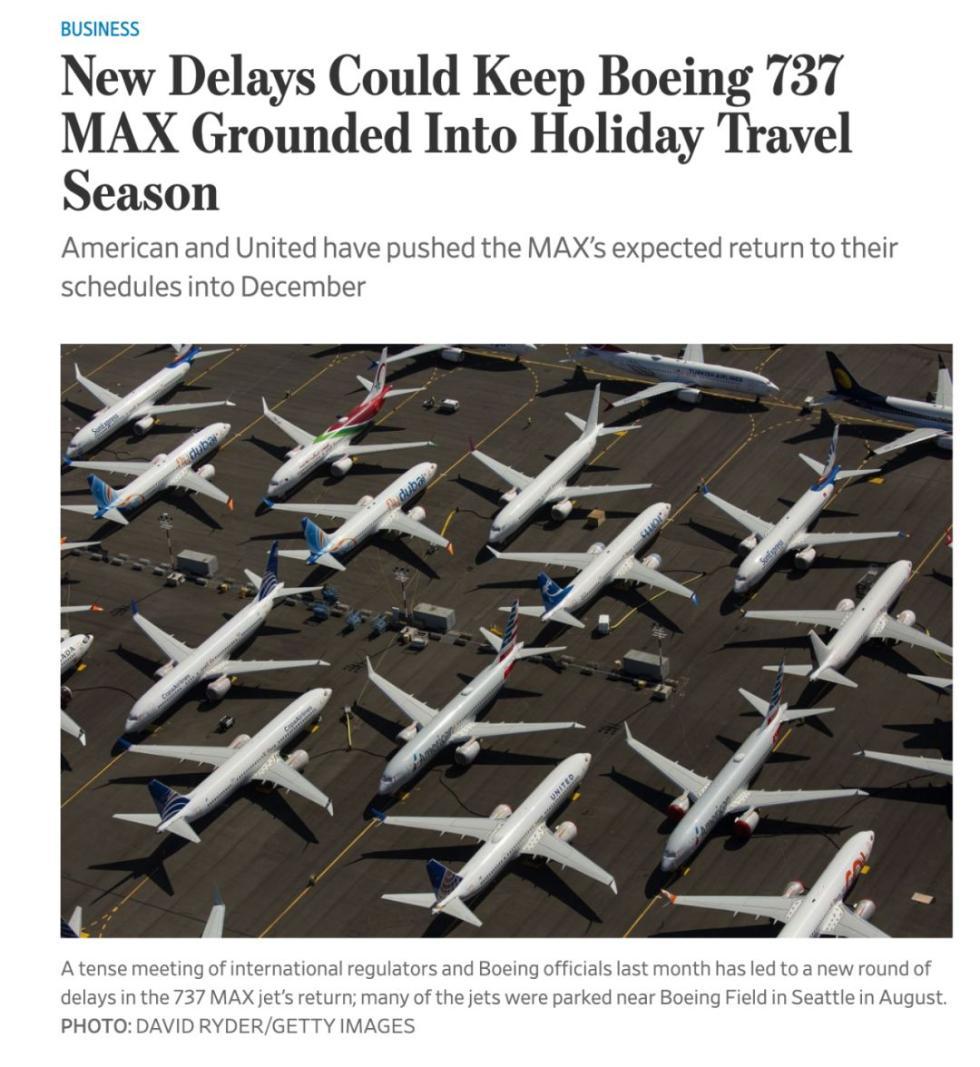 """波音737 MAX的禁飞时间延长了,航空公司:""""明年会更自信"""""""