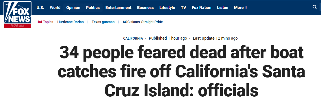 美国载39人潜水船起火!外媒称34乘客恐死,5船员逃生