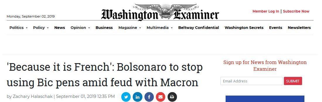 """刚与马克龙打过""""口水仗"""",巴西总统宣称将停止用法国笔"""