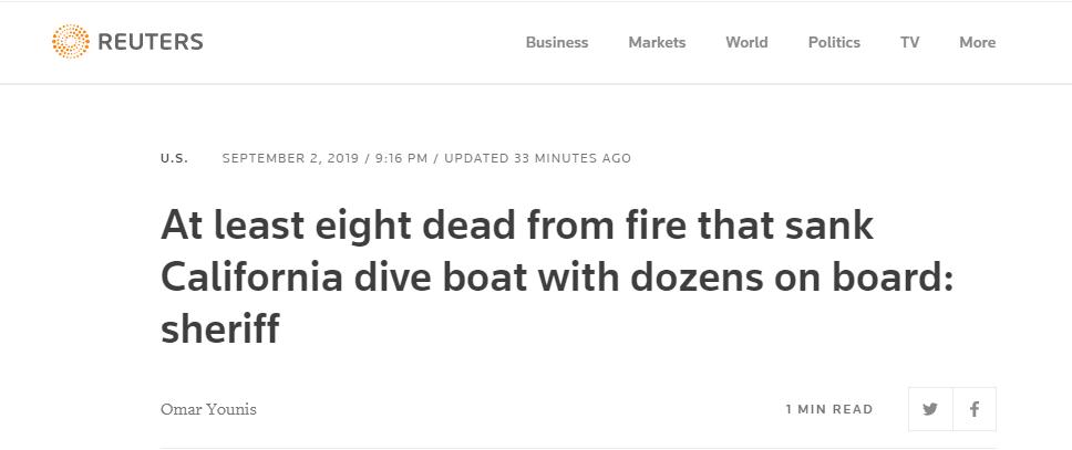 最新!美加州一潜水船失火,至少8人被证实遇难