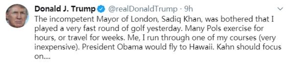 打高尔夫遭伦敦市长嘲讽 特朗普:奥巴马还会飞夏威夷打呢