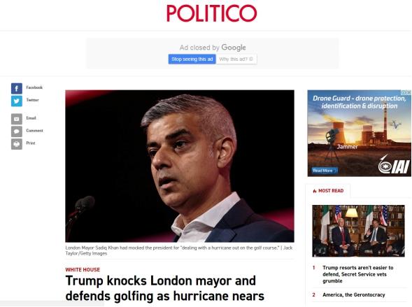 打高尔夫遭伦敦市长嘲讽 特朗普:奥巴马还会飞夏威