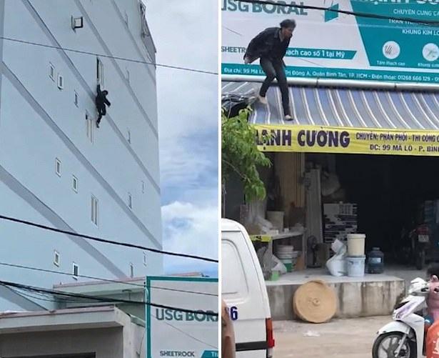 惊险!越南一男游客失手坠楼 四楼掉下仅擦伤