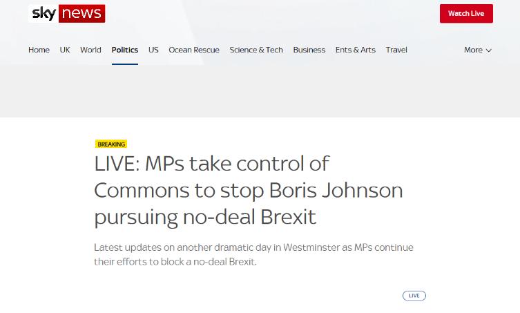 英国议会投票通过法案 阻止无协议脱欧