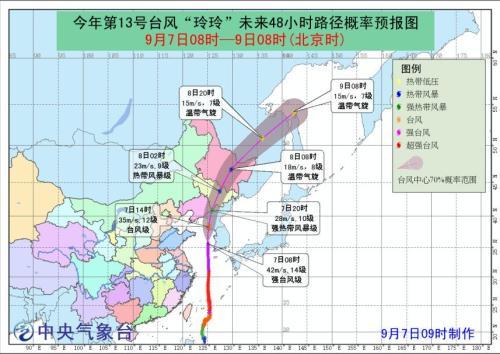 """台风""""玲玲""""将于7日晚进入东北 逐渐变性为温带气旋"""