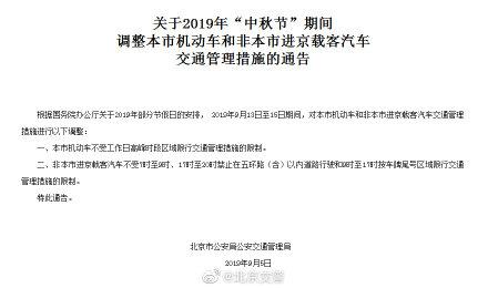 中秋节三天假 北京市机动车尾号不限行