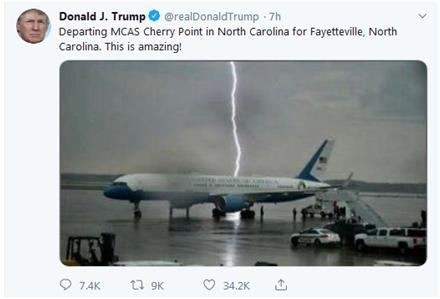 总统专机差点遭雷击,特朗普发推惊叹:不可思议!