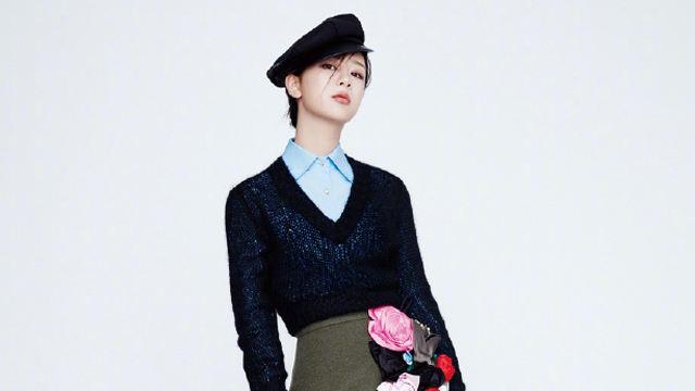 杨紫最新摩登杂志照曝光 刘海遮眼大衣西装针织衫造型多变